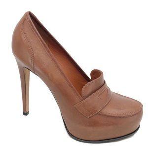 Pour La Victoire brown leather platform heels 7.5